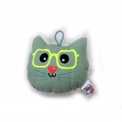 Coussin chat à lunettes